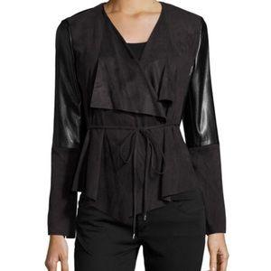 Laundry Shelli Segal | Faux Leather Drape Jacket
